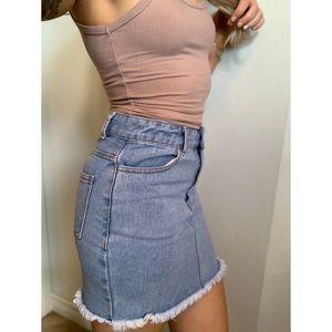 Small, Forever 21, light denim jean skirt